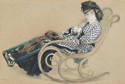 cavetocanvas:  James Tissot, Young Woman in a Rocking Chair (study for The Last Evening), c. 1873 From the Getty Museum:  Jacques Joseph Tissot made this drawing as an elaborate study for a well-known painting, The Last Evening, now in the collection of the Guildhall Art Gallery in London. The young woman is contemplating the departure of her love, a sailor who is preparing to go out to sea. Tissot, who often drew and painted people in introspective states of mind, captured her sitting pensively in a rocking chair. She seems lost in thought, staring forward. The fingertips of her right hand barely rest against her pale cheek while her legs extend to reach the chair's footrest. He portrays the woman's clothes realistically, carefully depicting her black-and-white plaid tunic, and juxtaposing it with the brown-red tartan of her skirt. A hat wrapped in gauzy fabric surrounds her shock of strawberry-blonde hair. Tissot used heightening to create vivid and shiny highlights along the chair's frame, while gentle shadows fall beneath the chair, adding depth. His use of gouache simulates the look of oil painting.
