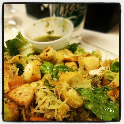 Pesto chicken cesar salad for lunch today :) @ #nicos #lunch #foodporno #delicious #omg #hellyeah  (Taken with Instagram)