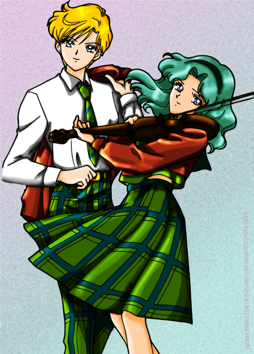 aquarii:  Melody of the Horizon: Haruka and Michiru ————————————————————————- First coloring edit under a new technique (black/white overlay) and with a new watermark (now using Avenir font in place of SimHei).