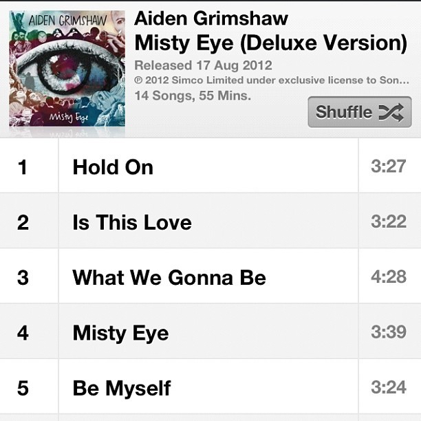 Yeah boi! Bit of Mr Grimshaw to rid my oncoming Monday blues. #mistyeye #aidengrimshaw #xfactor (Taken with Instagram)