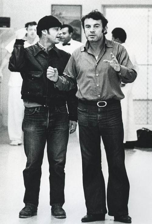Jack Nicholson and Milos Forman on the set of One Flew Over the Cuckoo's Nest (1975)