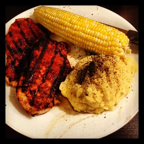 Pork chops, corn and taters… Welcome home! (Taken with Instagram at The Haunted Hollow)
