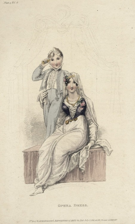 July opera dress (and a suit for boys), 1811 England, Ackermann's Repository