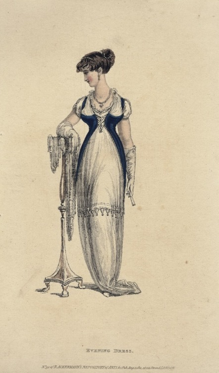 August evening dress, 1811 England, Ackermann's Repository