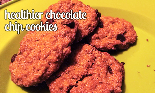 "life-with-aubrey:  The other night, I found myself really wanting some cookies.  What I didn't want, though, was a 300 calorie cookie.  A lot of ""healthy"" cookie recipes aren't really healthy, or if they are, they taste like cardboard.  Not the case with these cookies.  I'm both happy and disappointed to share that these cookies didn't make it through the night in my apartment.  I'd planned to use them in lunches throughout the week, but that just didn't happen.  They were that good. Healthier Chocolate Chip Cookies12 servings 3/4 cup oats1/4 teaspoon baking soda1/8 teaspoon salt2 tablespoons brown sugar5 teaspoons white sugar2 tablespoons chocolate chips1 tablespoon oil1 tablespoon milk Preheat your oven to 375°. Combine the oats, baking soda, salt, and sugars in a food processor and pulse until smooth.  Stir in the chocolate, oil, and milk.  Bake for 6 minutes on a greased cookie sheet.  The cookies will harden as they cool. nutrition:56 calories 