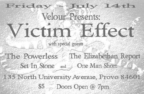 Victim Effect, The Powerless, Set in Stone, The Elizabethan Report, One Man Short (Velour)