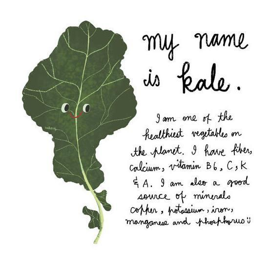 "Nice to meet you kale! I think tree collards and egyptian spinach may have surpassed your benefits, but ""I see you"" and you're ""available"" to me!"