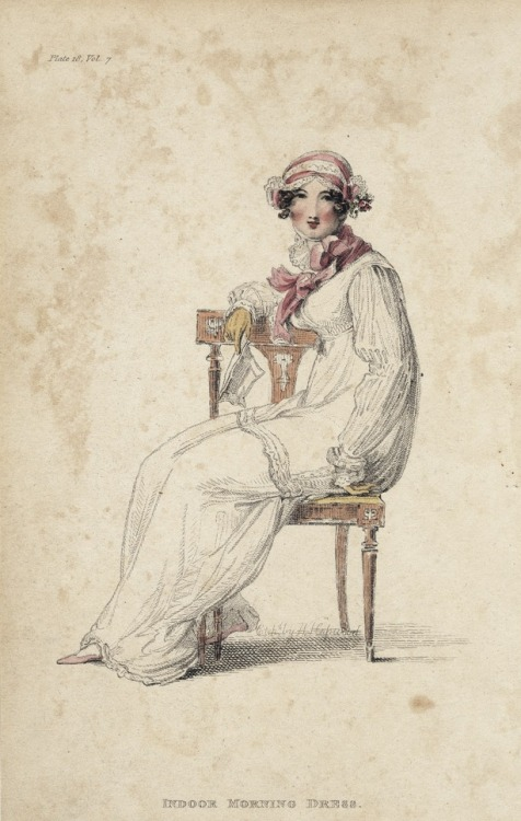 March indoor morning dress, 1812 England, Ackermann's Repository