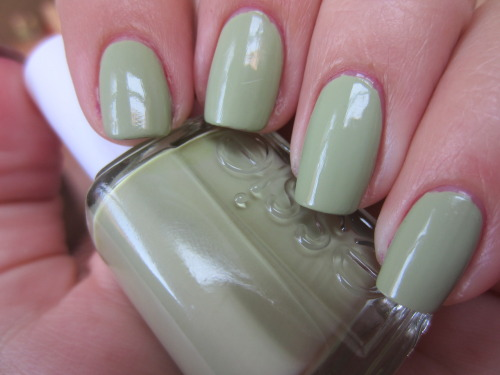 "essie ""navigate her"" this is one of my favorite greens! opaque in 2 coats and so easy to work with. and the color is definitely a true pistachio color! love it!"