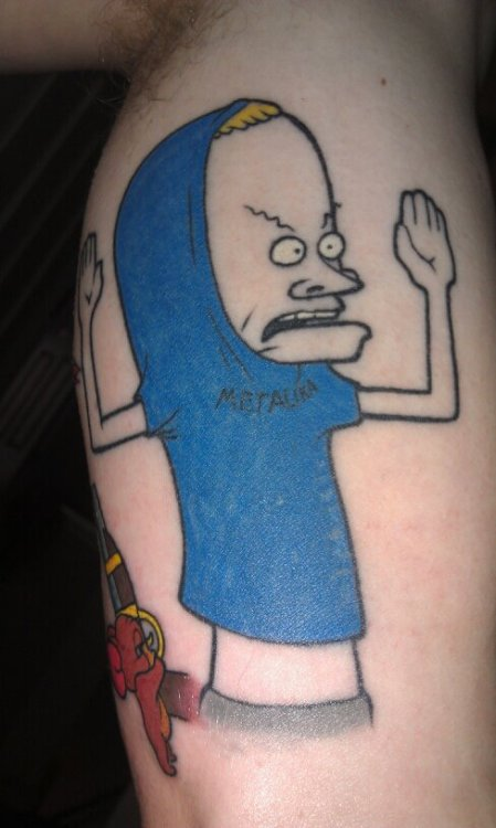 Beavis, part of a cartoon sleeve. Done by Jack at glory days Clayton, NC