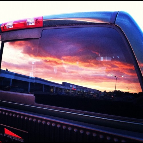 architectintraining:  Re-defining the mirror shot. #sky #truck #mirror #reflection #datenight (Taken with Instagram at providence, MA)