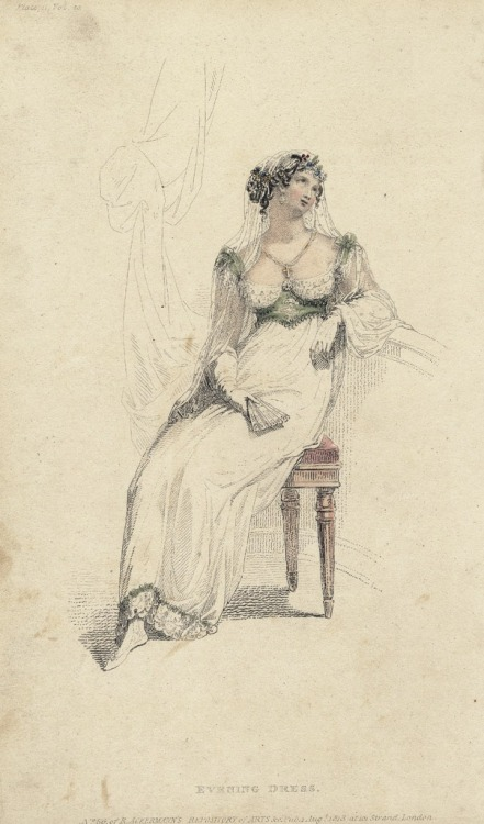 August evening dress, 1813 England, Ackermann's Repository