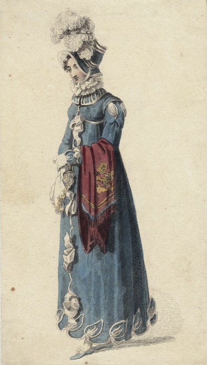 December walking dress, 1815 England, Ackermann's Repository