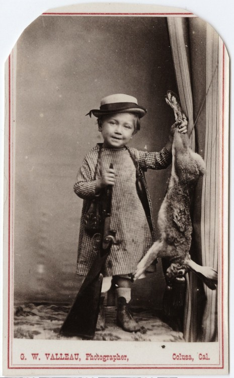 ca. 1855-95, [carte de visite portrait of a small child with a shot gun and a dead rabbit], George W. Valleau via the Yale Collection of Western Americana, Beinecke Rare Book and Manuscript Library, Carl Mautz Collection
