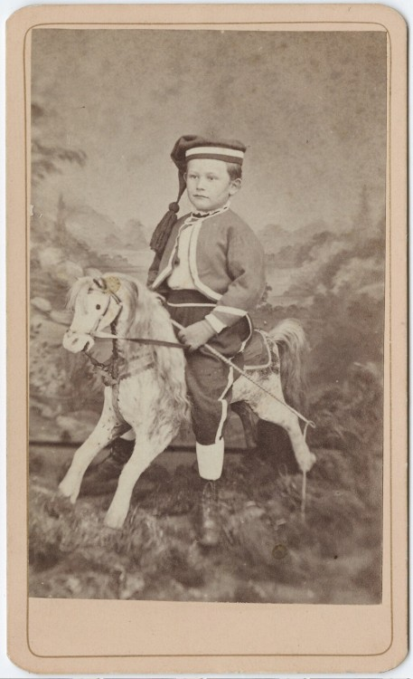 tuesday-johnson:  ca. 1855-95, [carte de visite portrait of a child on a rocking horse], Murry Dunham via the Yale Collection of Western Americana, Beinecke Rare Book and Manuscript Library Carl Mautz Collection