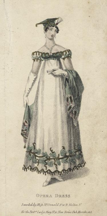 March opera dress, 1818 England, British Lady's Magazine