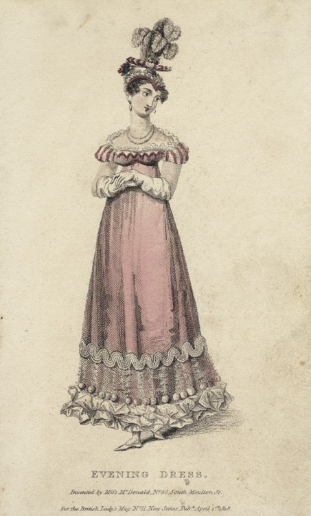April evening dress, 1818 England, British Lady's Magazine