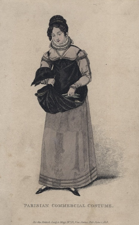 Parisian commercial costume (a shoe seller), 1818 England, British Lady's Magazine