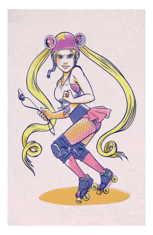 Sailor Derby Usagi, Rabbit Moon Kicker-of-Asses. Allison Bamcat 2012.   Also this is dedicated to Albinwonderland.