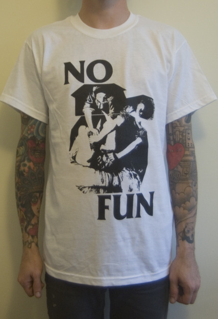 No Fun - One colour, black print on white shirts. Sick band, check them out here!