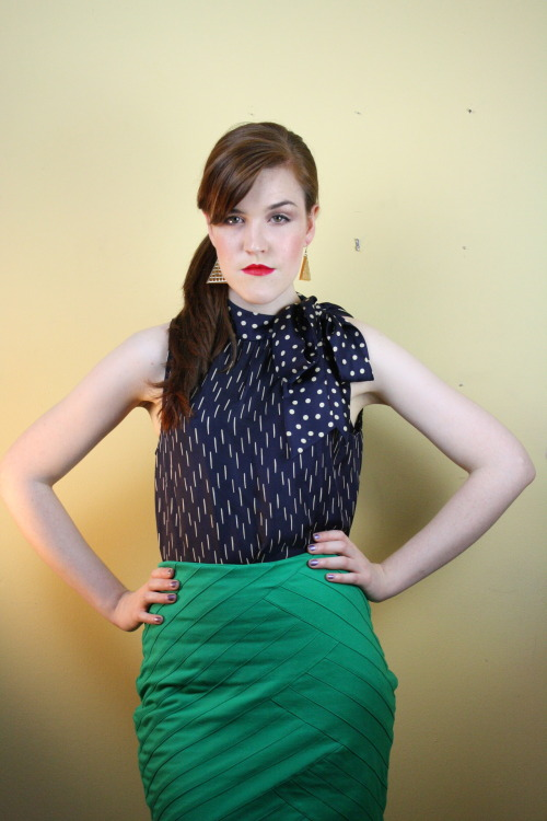 Bold office attire clothing 2012 skirt bow tie blouse executive fashion forward