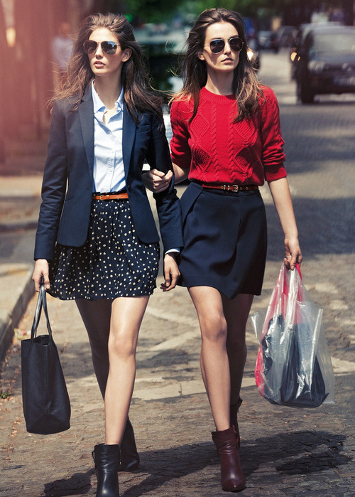 lizfitstyle:  what-do-i-wear:  Kendra Spears & Andreea Diaconu for Mango's Fall 2012 lookbook  Mostly on the left, the sweater and colors on the right  love love love love love