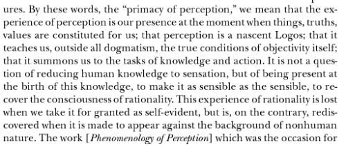 "Maurice Merleau-Ponty, from ""The Primacy of Perception and its Philosophical Consequences"""