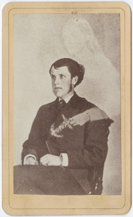 "ca. 1855-95, [carte de visite spirit portrait of ""Herbert Wilson and his intended""], Mains James Riley, Von Hasseln via the Yale Collection of Western Americana, Beinecke Rare Book and Manuscript Library Carl Mautz Collection"
