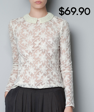 Zara Embroidered Tulle Blouse With Pearls Around Collar 99