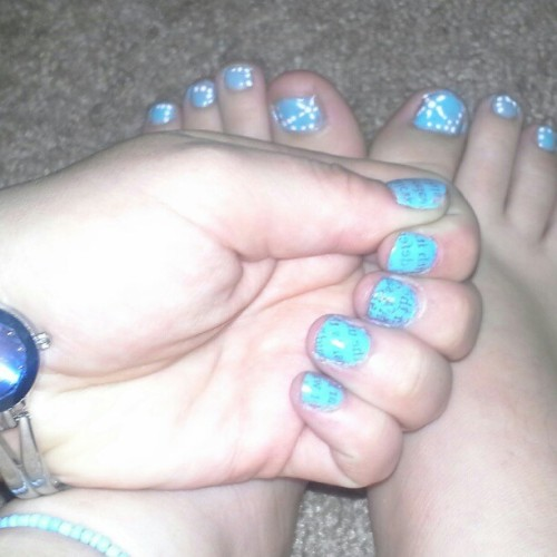 finally did my nails :) guess my favorite color :P (Taken with Instagram)
