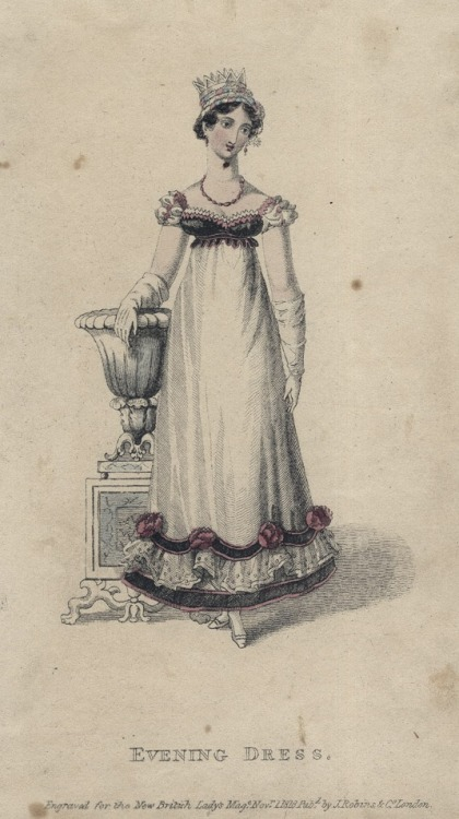 November evening dress, 1818 England, British Lady's Magazine