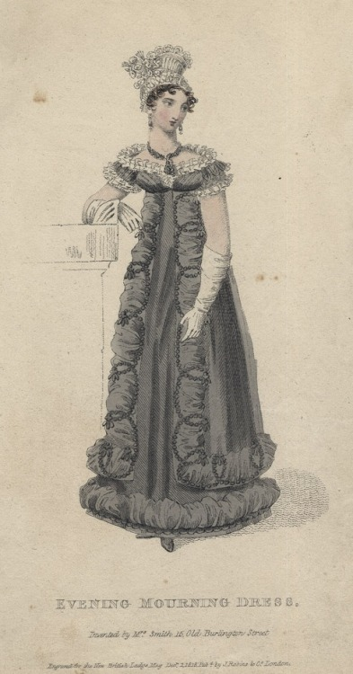 December evening mourning dress, 1818 England, British Lady's Magazine