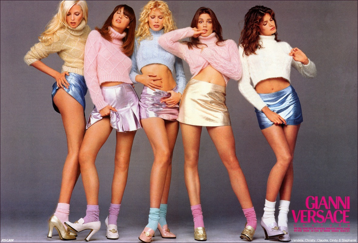 Nadja Auermann, Christy Turlington, Claudia Schiffer, Cindy Crawford and Stephanie Seymour photographed by Richard Avedon for Versace, 1994