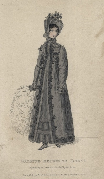 December walking mourning dress, 1818 England, British Lady's Magazine