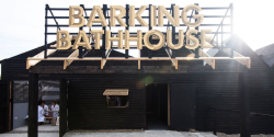 Our new favorite temporary/ pop-up space: The Barking Bathhouse, an experimental spa/bar in Barking Town Centre for 8 weeks over the summer.  Commissioned by art agency CREATE and designed by Something & Son