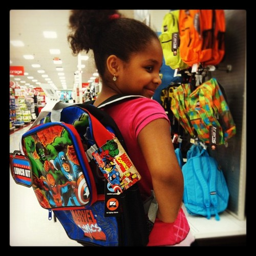 #DaddysLilGirl wants that #Marvel backpack for school. I'm soo damn proud! (Taken with Instagram)