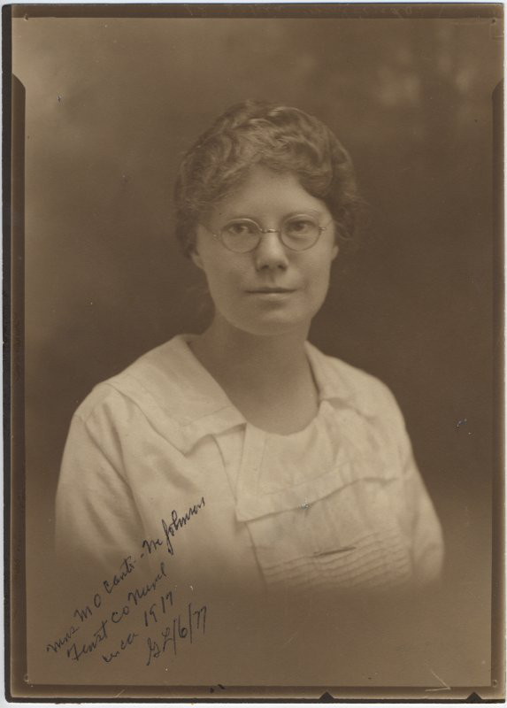 Portrait of Grace Johnson Carter, first county nurse, Richland Center, Wisconsin, ca. 1917. via: Richland County History Room, Brewer Public Library
