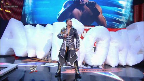 "The Miz retained the Intercontinental Championship at SummerSlam: August 19, 2012 A hotshot and a Skull Crushing Finale put away Rey Mysterio. Nice to see Miz's ""Awesome"" balloon."