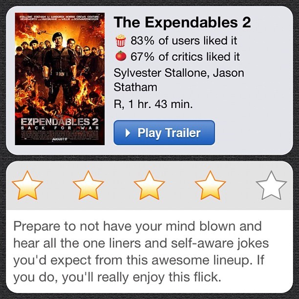 #instareview of The Expendables 2 (Taken with Instagram at Alamo Drafthouse Cinema – Lake Creek)
