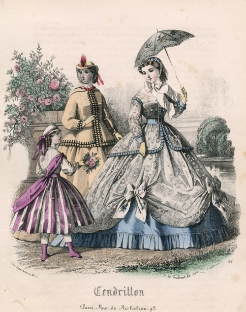 July fashions, 1865 France, Cendrillon