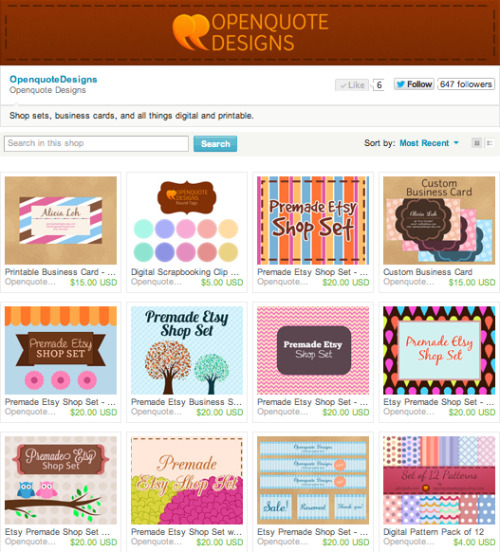cravingsforfood:  Openquote Designs is my Etsy shop where I sell digital work, including printable business cards, and Etsy shop sets. I have a few more in the works, such as invitations, so be sure to keep checking back! The items are all affordable, and the designs are fun. All of them are high-quality and professional, ensuring that you will receive a great product that will leave good impressions. Please visit Openquote Designs, and share the link with your friends! It also has a Facebook page, so be sure to like it here.