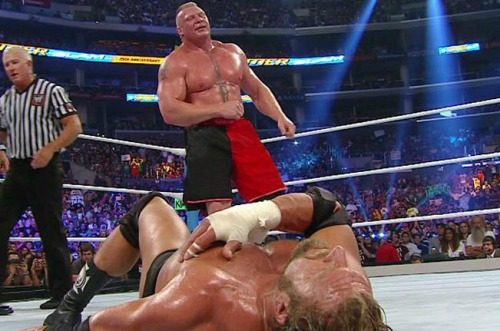 "Brock Lesnar mauls Triple H at SummerSlam: August 19, 2012 The Next Big Thing's stomach is his weakness. Triple H did all he could to exploit it, but Lesnar was just too much for The Game and his injured arm. The crowd gave Triple H a mixed response at the end: boos and ""you tapped out"" chants versus cheers and ""Triple H"" chants."