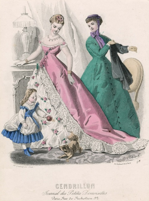 March fashions, 1867 France, Cendrillon Do any of you like this kind of ballgown (the pink one)?  They've always reminded me of those crocheted toilet paper covers you find at thrift stores. :(