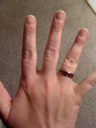 The ring the prof bought me in Hawaii. Tungsten metal with a Koa wood inlay (native Hawaiian tree)