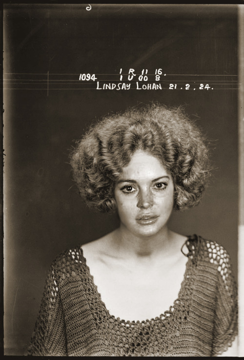 Mugshots of celebs if they were in the 1920s.  mugshotdoppelganger: Lindsay Lohan