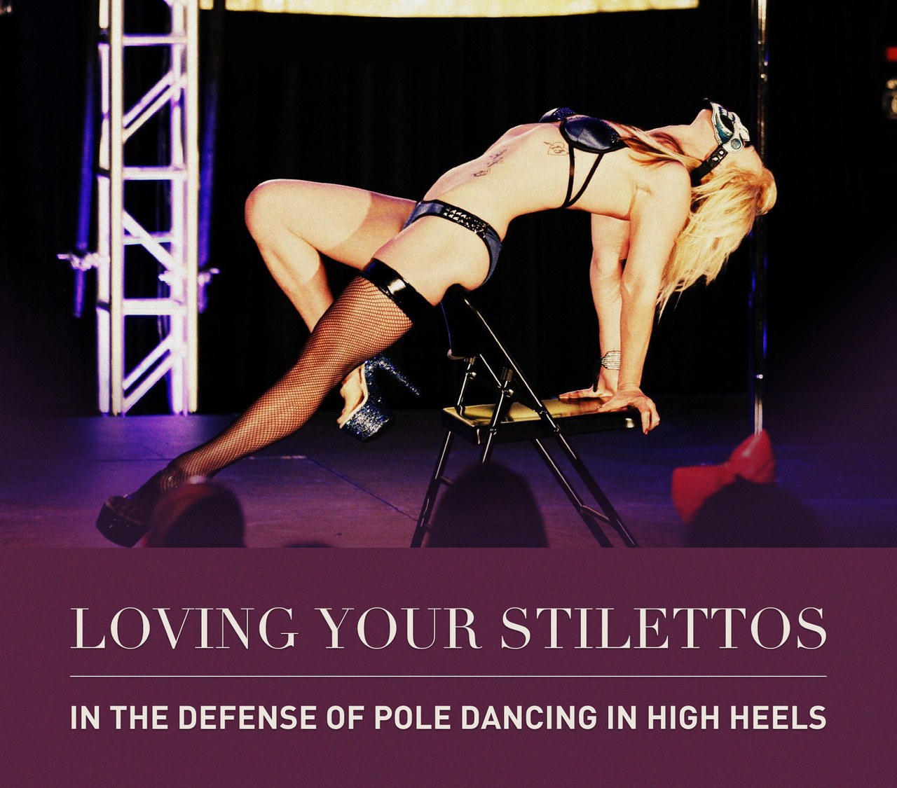 """In the Defense of Pole Dancing in Heels"" aka ""Day 28: Shoes or no shoes? Why?"" of The 30 Day Pole Challenge. I've been putting off this post for awhile because I have a lot of opinions on the question, but I want to say both are great. I believe that it's good training try and use both in practice.  And in the defense of heels:It really is a bummer to hear that so many girls in the ""pole fit"" community hate heels because they ""cheapen"" the look of the dance. I do believe in fitting the look of a performance to the music. This goes right down to footwear. If the song calls for it, don't be afraid to whip out the shoes to add an extra oomph to your peformance. I myself would never have the confidence to dance to a rock/alt/metal song without the aid of my heels.  Heels work your body harder since they will add weight to your inverts and will force you to point your toes. Your calves will look AWESOME after dancing in heels since you're actively lifting and lengthening your legs. Floorwork will be a piece of cake in heels, as you will have both the heel and the toe of the shoes to slide around on. If you have time, I would definitely advise you to watch an Alethea Austin video. Watch her floorwork — it's as smooth as butter. Shoes add a wonderful element of slinky and sexy that is difficult to achieve without shoes.  However, bare feet is also beautiful. There is a versatility that is unmatched in working with bare feet; the power of a pointed toe and a flexed foot are really just awe-inspiring to see on stage. A pointed toe is literally what it sounds like, pointing your to accentuate the arch of your foot. A flexed foot is the look of a foot when the balls of a foot are stretched back with toes and arch and pointing towards your face. Have you ever watched an aerial silks or hoop video? Dancers will fluctuate between the two because of their function, whether it be climbing or holding. A pointed toe at all times is what every dancer wants to be actively practicing towards. It shows that the dance is encompassing all of your body parts — from the movement of your fingers to the tips of your toes. But remember, a flexed foot is also powerful. It can act as grip aid or add a strong visual line to a pose. Can you imagine a V-spin or Spinning Straddle with a flexed foot? You're probably like: ""Gross, I would never do that! That's RAUNCHY!"", but if you were playing a character in your dance — say you were pretending to be the Big Bad Wolf dancing to Another Brick in the Wall by Korn, it would be approriate!  Train in both and your dance will get stronger. Being a versatile dancer and performer means mastering all mediums, and this includes shoes. Try to be open minded about the types of movement shoes or no shoes will bring to your dance and what opportunities will present themselves. Finally, be proud and revel in your accomplishment! You're dancing in 6 - 8"" heels that most people would sprain their ankles just trying to walk in!  Photo credit to Poleagraphy"