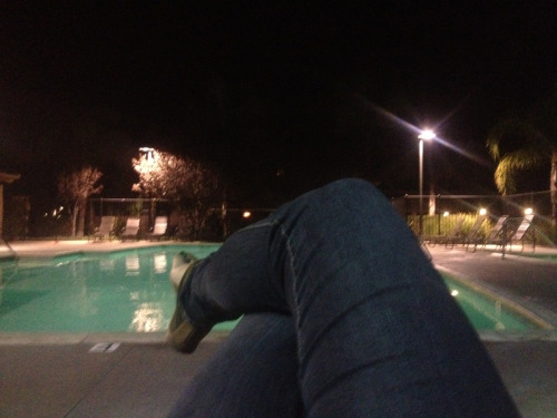 Night time by the pool the most relaxing