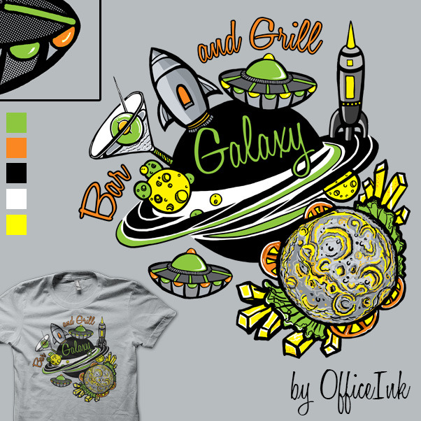 This is my derby entry for Shirt.Woot this week.   http://shirt.woot.com/derby/entry/65311/galaxy-bar-and-grill  I could use some votes and promotes if any of you guys like the design or have the time. Thanks,Much love!