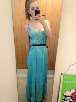 What I wore today Vintage 1970s turquoise maxi dress, black and silver belt, black converse