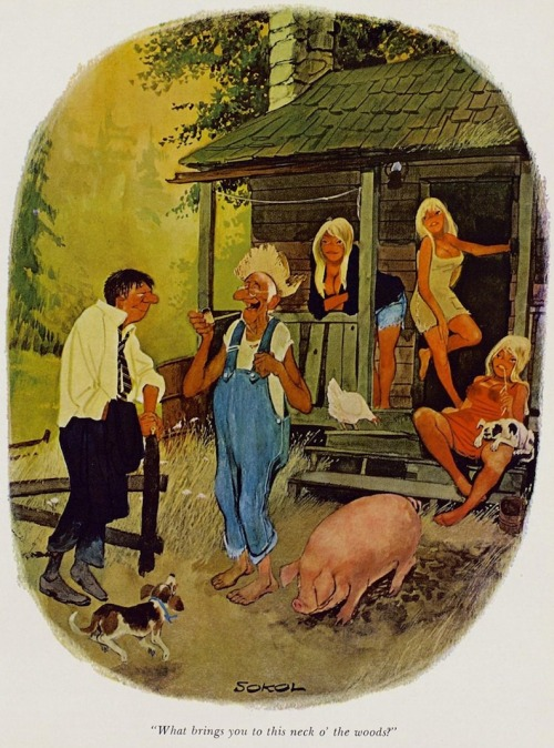 """What brings you to this neck o' the woods?"" (vintage Playboy cartoon by Sokol)"